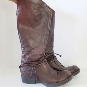 Born Brown Genuine Leather Tall Riding Boots 7.5